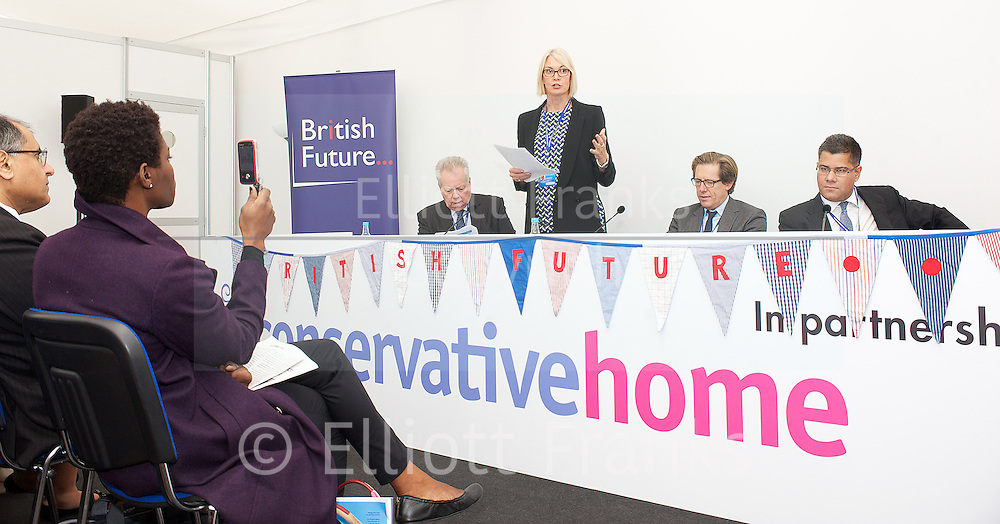 Conservative Party Conference <br /> Day 2<br /> 30th September 2013 <br /> Manchester Central, Manchester, Great Britain <br /> <br /> <br /> Conservative Home <br /> fringe meeting <br /> British Future <br /> Future Majority: Can the Conservatives win in a changing Britain?<br /> <br /> Ian Birrell<br /> Margot James MP<br /> Eric Ollerenshaw MP<br /> Alok Sharma MP<br /> <br /> <br /> Photograph by Elliott Franks
