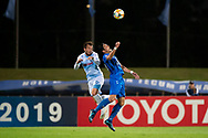 SYDNEY, NSW - MARCH 06: Sydney FC player Adam Le Fondre (9) and Ulsan Hyundai FC player Yun Youngsun (20) go up for the ball at AFC Champions League Soccer between Sydney FC and Ulsan Hyundai FC on March 06, 2019 at Netstrata Jubilee Stadium, NSW. (Photo by Speed Media/Icon Sportswire)