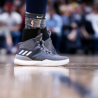 05 April 2018: Close view of Minnesota Timberwolves center Karl-Anthony Towns (32) sneakers during the Denver Nuggets 100-96 victory over the Minnesota Timberwolves, at the Pepsi Center, Denver, Colorado, USA.