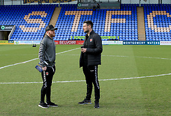 Charlton Athletic's Jonny Williams (Left) and Jonny Jackson inspect the pitch before the Sky Bet League One game.