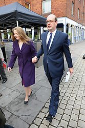 © Licensed to London News Pictures. 20/11/2014<br /> Mark Reckless voting with wife Catriona Reckless at the Baptist Hall, Crow Lane, Rochester,Kent  this  morning..<br /> Walked down  Rochester,High Street from the UKIP office.<br /> <br /> Rochester and Strood Parliamentary By-Election polling day, today (20.11.2014) in Kent.<br /> <br /> (Byline:Grant Falvey/LNP)