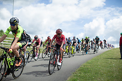 Coryn Rivera (USA) of Team Sunweb leans into a corner on Stage 2 of 2019 OVO Women's Tour, a 62.5 km road race starting and finishing in the Kent Cyclopark in Gravesend, United Kingdom on June 11, 2019. Photo by Balint Hamvas/velofocus.com