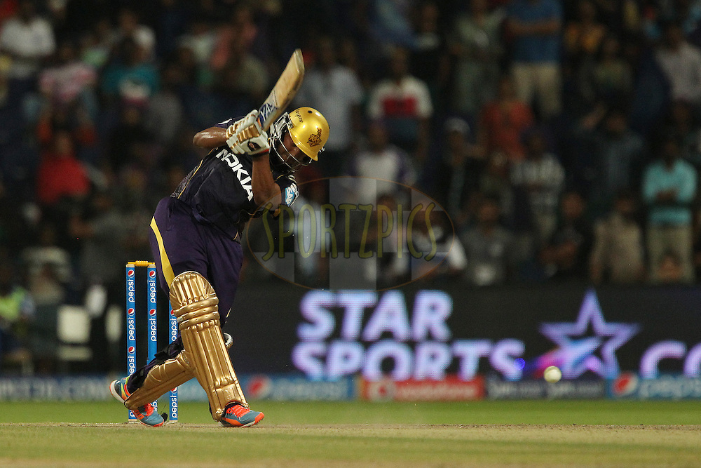 Shakib Al Hasan of the Kolkata Knight Riders during the SUPER over in match 19 of the Pepsi Indian Premier League 2014 Season between The Kolkata Knight Riders and the Rajasthan Royals held at the Sheikh Zayed Stadium, Abu Dhabi, United Arab Emirates on the 29th April 2014<br /> <br /> Photo by Ron Gaunt / IPL / SPORTZPICS