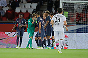 Kevin Trapp (PSG) stopped the ball kicked by Jonathan DELAPLACE (SM Caen), Blaise Mathuidi (psg), Adrien Rabiot (psg), Presnel Kimpembe (PSG), Marcos Aoas Correa dit Marquinhos (PSG), Edinson Roberto Paulo Cavani Gomez (psg) (El Matador) (El Botija) (Florestan), Syam BEN YOUSSEF (SM Caen) during the French Championship Ligue 1 football match between Paris Saint-Germain and SM Caen on May 20, 2017 at Parc des Princes stadium in Paris, France - Photo Stephane Allaman / ProSportsImages / DPPI