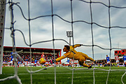 Hamilton keeper Gary Woods gets fingertips to the ball but not enough to keep the ball out of the net during the Ladbrokes Scottish Premiership match between Hamilton Academical FC and Rangers at The Hope CBD Stadium, Hamilton, Scotland on 24 February 2019.