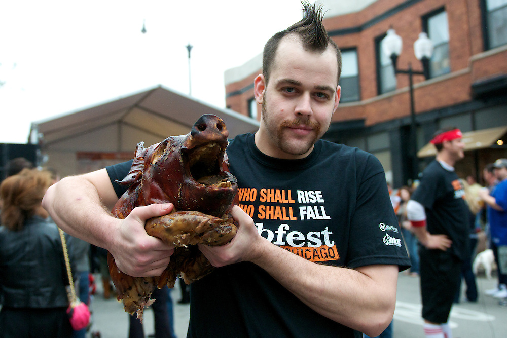 """Patrick """"Deep Dish"""" Bertoletti at Ribfest before the Professional Rib-Eating Competition"""