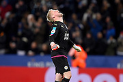 Leicester City goalkeeper Kasper Schmeichel (1) shouts as Leicester City forward Jamie Vardy (9) scores to make it 3-0 during the Premier League match between Leicester City and Liverpool at the King Power Stadium, Leicester, England on 27 February 2017. Photo by Jon Hobley.