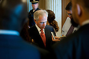 Sep 28, 2010 - Washington, District of Columbia, U.S., - Senator Lamar Bob Corker (R-TN) answers reporters questions after voting on a bill aimed at discouraging outsourcing of U.S. jobs. The bill, which includes a payroll tax break for companies that move jobs to the U.S., failed to move forward when sponsors were unable to muster the 60 votes needed to endf debate. (Credit Image: © Pete Marovich/ZUMA Press)