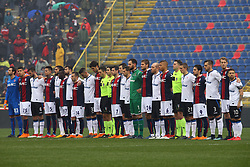 """Foto Filippo Rubin<br /> 11/03/2018 Bologna (Italia)<br /> Sport Calcio<br /> Bologna - Atalanta - Campionato di calcio Serie A 2017/2018 - Stadio """"Renato Dall'Ara""""<br /> Nella foto: MINUTO DI SILENZIO PER DAVIDE ASTORI<br /> <br /> Photo by Filippo Rubin<br /> March 11, 2018 Bologna (Italy)<br /> Sport Soccer<br /> Bologna vs Atalanta - Italian Football Championship League A 2017/2018 - """"Renato Dall'Ara"""" Stadium <br /> In the pic: MINUTE OF SILENCE FOR DAVIDE ASTORI"""