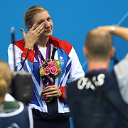 Rebecca Adlington, Great Britain, crying after winning the Bronze Medal in the Women's 800m Freestyle Final at the Aquatic Centre at Olympic Park,  during the London 2012 Olympic games. London, UK. 3rd August 2012. Photo Tim Clayton