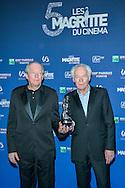 Jean-Pierre et Luc Dardenne avec leur Magritte du meilleur réalisateur lors de la cinquième cérémonie des Magritte du cinéma belge. De nombreuse personnalités du cinéma étaient présentes pour cette édition. Notamment Julie Gayet, Pierre Richard (Magritte d'Honneur), François Damiens, Thierry Lhermitte mais également SAR le Prince Laurent et la Princesse Claire de Belgique