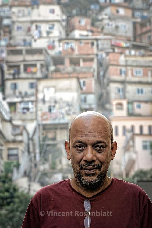 "Paulo Lins, Brazilian writer of 'City of God"" and 'Since Samba is Samba"". Down the Cantagalo - Pavãozinho favela in Copacabana."