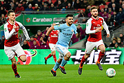 Sergio Aguero (10) of Manchester City on the attack during the EFL Cup Final match between Arsenal and Manchester City at Wembley Stadium, London, England on 25 February 2018. Picture by Graham Hunt.