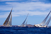 Salute, Saudade, and Ranger racing in the St. Barth's Bucket Regatta.