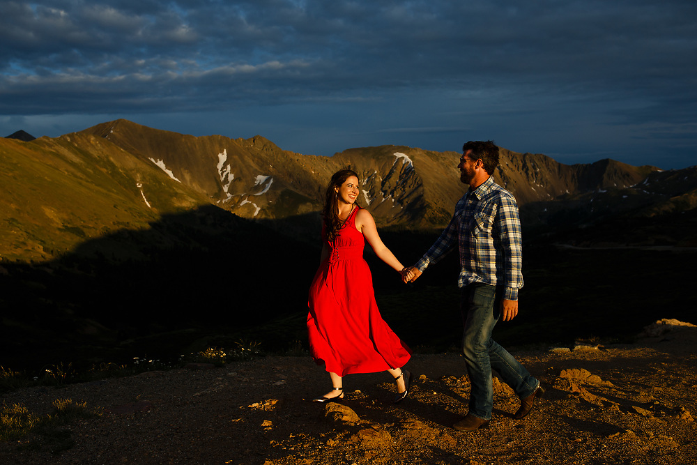 Mallory Bernstein and Daniel Feely celebrate their engagement on the top of Loveland Pass in Keystone, Tuesday, July 18, 2017. Photo by Justin Edmonds