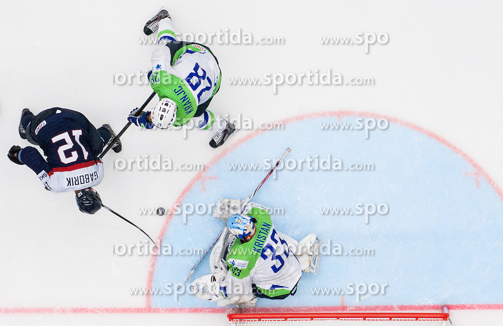 Marian Gaborik of Slovakia vs Ales Kranjc of Slovenia and Robert Kristan of Slovenia during Ice Hockey match between Slovakia and Slovenia at Day 5 in Group B of 2015 IIHF World Championship, on May 5, 2015 in CEZ Arena, Ostrava, Czech Republic. Photo by Vid Ponikvar / Sportida