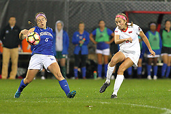 04 November 2016:  Katie Wells(5) & Lauren Koehl(9) during an NCAA Missouri Valley Conference (MVC) Championship series women's semi-final soccer game between the Indiana State Sycamores and the Illinois State Redbirds on Adelaide Street Field in Normal IL