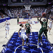 Alisia Jenkins, USF, drives to the basket during the UConn Huskies Vs USF Bulls 2016 American Athletic Conference Championships Final. Mohegan Sun Arena, Uncasville, Connecticut, USA. 7th March 2016. Photo Tim Clayton