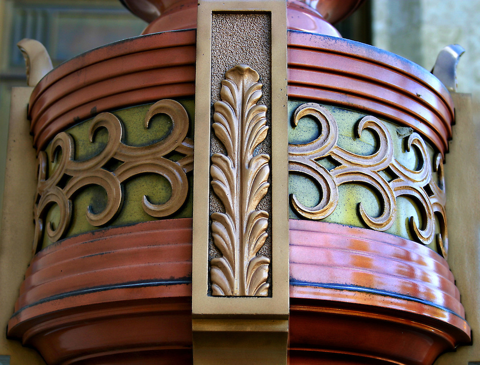 Detail art nouveau lighting fixture, Federal Building, Scarth Street Regina Saskatchewan