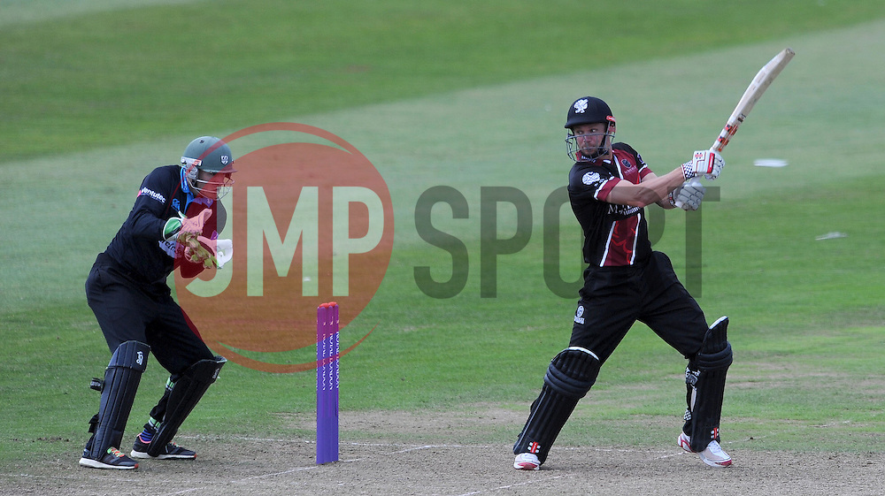 Somerset's James Hildreth cuts the ball. - Photo mandatory by-line: Harry Trump/JMP - Mobile: 07966 386802 - 31/07/15 - SPORT - CRICKET - Somerset v Worcestershire- Royal London One Day Cup - The County Ground, Taunton, England.