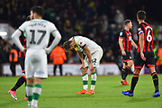 Dennis Srbeny (32) of Norwich City looks dejected at full time after Bournemouth won 2-1 during the EFL Cup 4th round match between Bournemouth and Norwich City at the Vitality Stadium, Bournemouth, England on 30 October 2018.