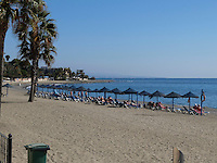 Recliners, sun shades, beach, blue sky, sunshine, San Pedro de Alcantara, Marbella, Spain, October, 2016, 201610102934<br />