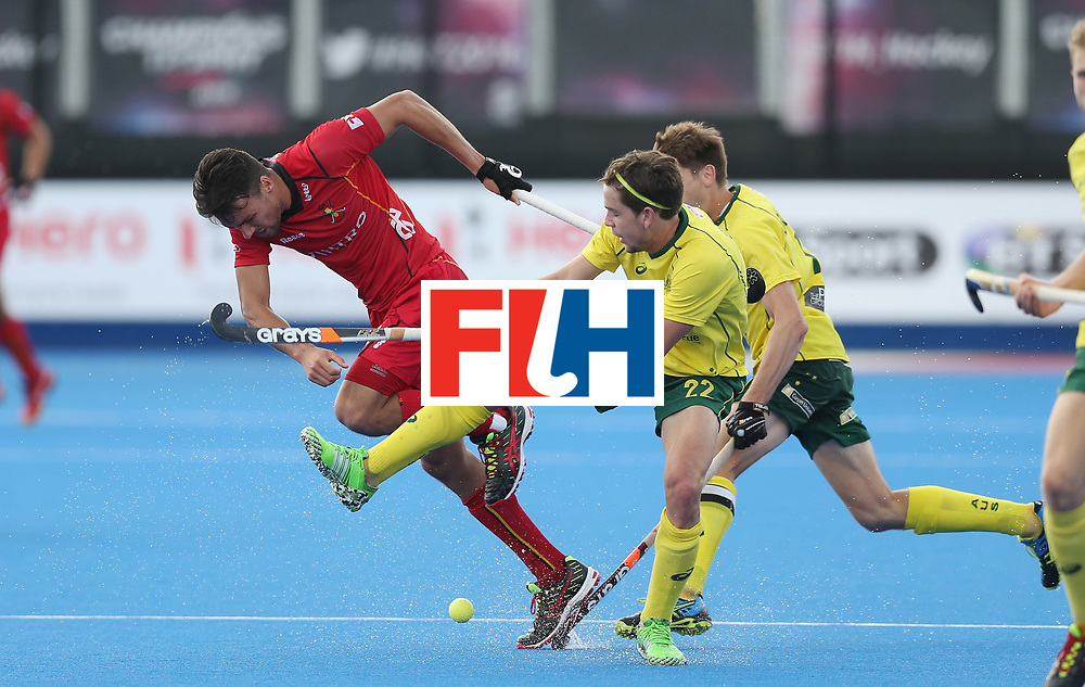 LONDON, ENGLAND - JUNE 14:  Simon Gougnard of Belgium and Flynn Ogilvie of Australia during the FIH Mens Hero Hockey Champions Trophy match between Australia and Belgium at Queen Elizabeth Olympic Park on June 14, 2016 in London, England.  (Photo by Alex Morton/Getty Images)