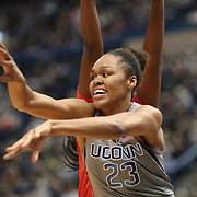 HARTFORD, CONNECTICUT- NOVEMBER 19: Azura Stevens #23 of the Connecticut Huskies defended by Brianna Fraser #34 of the Maryland Terrapins during the the UConn Huskies Vs Maryland Terrapins, NCAA Women's Basketball game at the XL Center, Hartford, Connecticut. November 19th, 2017 (Photo by Tim Clayton/Corbis via Getty Images)
