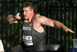 August 10, 2018 - Toronto, ON, U.S. - TORONTO, ON - AUGUST 10: Tim Nedow (Canada), silver shot put (21.02m) at the 2018 North America, Central America, and Caribbean Athletics Association (NACAC) Track and Field Championships on August 10, 2018 held at Varsity Stadium, Toronto, Canada. (Photo by Sean Burges / Icon Sportswire) (Credit Image: © Sean Burges/Icon SMI via ZUMA Press)