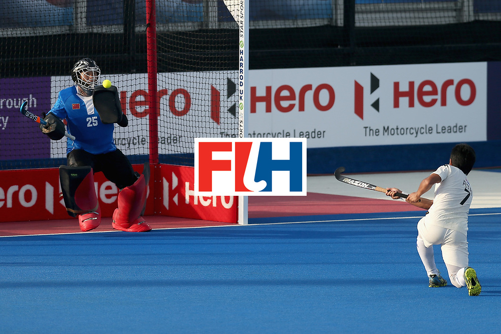 LONDON, ENGLAND - JUNE 20: Fitri Saari of Malaysia scores his sides fifth goal during the Pool B match between India and the Netherlands on day six of the Hero Hockey World League Semi-Final at Lee Valley Hockey and Tennis Centre on June 20, 2017 in London, England.  (Photo by Alex Morton/Getty Images)