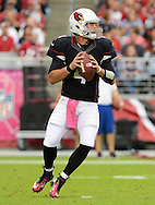 Oct. 14, 2012; Glendale, AZ, USA;  Arizona Cardinals quarterback Kevin Kolb (4) looks to make a pass against the Buffalo Bills at University of Phoenix Stadium. Mandatory Credit: Jennifer Stewart-US PRESSWIRE..