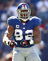 Oct 21, 2007: East Rutherford, NJ, USA: New York Giants defensive end (92) Michael Strahan celebrates after sacking San Francisco 49ers quarterback Trent Dilfer during the first half at Giants Stadium. Giants won 33-15..