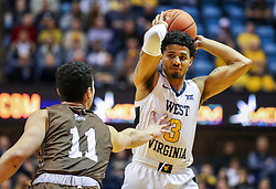 Dec 30, 2018; Morgantown, WV, USA; West Virginia Mountaineers guard James Bolden (3) passes the ball during the second half against the Lehigh Mountain Hawks at WVU Coliseum. Mandatory Credit: Ben Queen-USA TODAY Sports