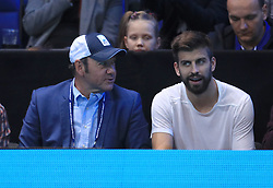 Actor Kevin Spacey (left) and Gerard Pique during day eight of the Barclays ATP World Tour Finals at The O2, London.