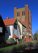 Eccentric mock Tudor architecture of water tower and houses, Thorpeness, Suffolk, England, UK