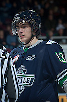 KELOWNA, CANADA -FEBRUARY 10: Mathew Barzal #13 of the Seattle Thunderbirds stands on the ice against the Kelowna Rockets on February 10, 2014 at Prospera Place in Kelowna, British Columbia, Canada.   (Photo by Marissa Baecker/Getty Images)  *** Local Caption *** Mathew Barzal;