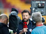 FODBOLD: Cheftræner Christian Lønstrup (FC Helsingør) giver interview til TV3 Sport før kampen i ALKA Superligaen mellem FC Nordsjælland og FC Helsingør den 21. august 2017 i Right to Dream Park, i Farum. Foto: Claus Birch