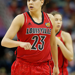 Apr 9, 2013; New Orleans, LA, USA; Louisville Cardinals guard Shoni Schimmel (23) and guard Jude Schimmel (back) look on during the first half of the championship game in the 2013 NCAA womens Final Four against the Connecticut Huskies at the New Orleans Arena. Mandatory Credit: Derick E. Hingle-USA TODAY Sports
