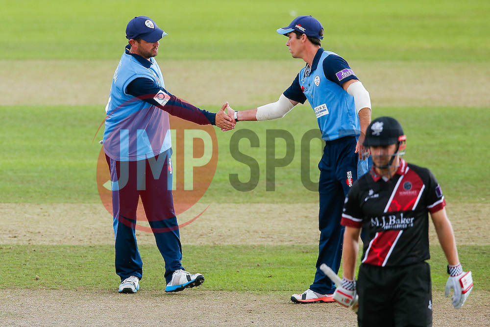 Wes Durston of Derbyshire celebrates after catching out James Hildreth of Somerset for 11 (b. Alex Hughes) - Mandatory byline: Rogan Thomson/JMP - 07966 386802 - 26/07/2015 - SPORT - CRICKET - Taunton, England - County Ground - Somerset v Derbyshire Falcons -Royal London One-Day Cup.