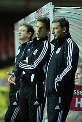 Bristol City U21's Manger Alex Russell talks with senior manager Derek McInnes - Photo mandatory by-line: Dougie Allward/Josephmeredith.com  - Tel: Mobile:07966 386802 04/09/2012 - SPORT - FOOTBALL - Professional Development League -  Bristol  - Ashton Gate -  Bristol City U21s v Brentford U21s