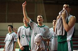 Krka`s victory at basketball game Zlatorog Lasko - Krka in in the first match of quarter-final of Spar Cup, on February 7, 2008 in Ljubljana, Slovenia.   (Photo by Vid Ponikvar / Sportal Images).