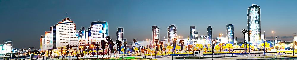 Digitally enhanced image of Tel Aviv, Israel. Skyline at dawn