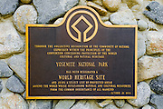 World Heritage Site plaque in Yosemite Village, Yosemite National Park, California USA