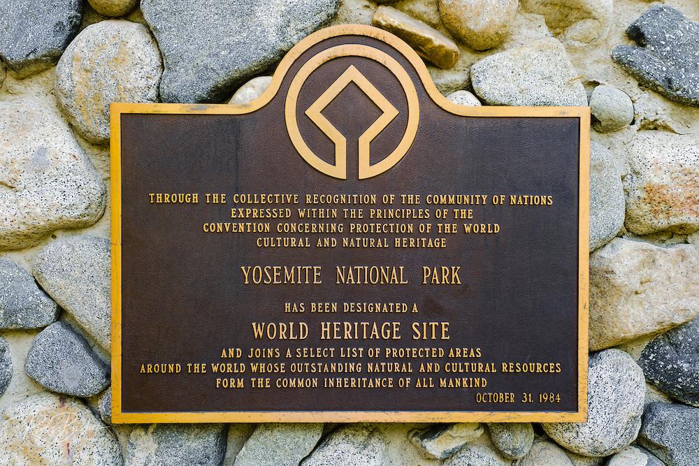 World Heritage Site plaque in Yosemite Village, Yosemite National Park, California USA
