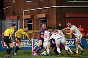 The referee and touch judge watch the Giants player go into touch during the Betfred Super League match between Hull Kingston Rovers and Huddersfield Giants at the Hull College Craven Park  Stadium, Hull, United Kingdom on 21 February 2020.