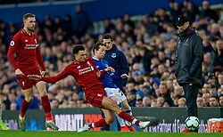 LIVERPOOL, ENGLAND - Sunday, March 3, 2019: Liverpool's Trent Alexander-Arnold challenges Everton's Bernard Anício Caldeira Duarte during the FA Premier League match between Everton FC and Liverpool FC, the 233rd Merseyside Derby, at Goodison Park. (Pic by Laura Malkin/Propaganda)