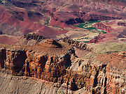 View from Pipe Creek Vista south rim Grand Canyon Arizona USA with view of the green Colorado River snaking through the red rocks of the canyon seen from above, April 2014.