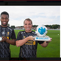 Liverpool Manager Brendan Rodgers and Daniel Sturridge receive their Manager and player of the Month awards from Barclays.<br /> Pictures by Paul Currie/Action Images
