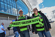 Forest Green Rovers fans outside Wembley during the Vanarama National League Play Off Final match between Tranmere Rovers and Forest Green Rovers at Wembley Stadium, London, England on 14 May 2017. Photo by Adam Rivers.