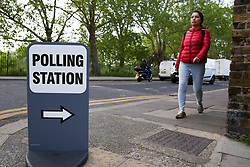 © Licensed to London News Pictures. 23/05/2019. London, UK. A voter arrives at a polling station in Haringey, north London to cast a vote in the European Parliament elections. Photo credit: Dinendra Haria/LNP
